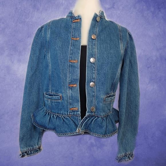 GAP Jackets & Blazers - GAP - Ruffle Design Denim Jean Jacket w Tag on!